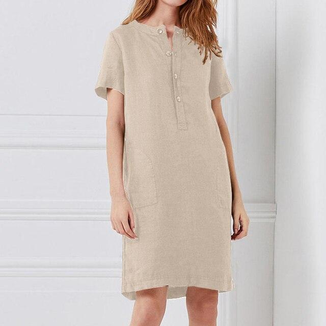 Women Vintage Linen Dress...