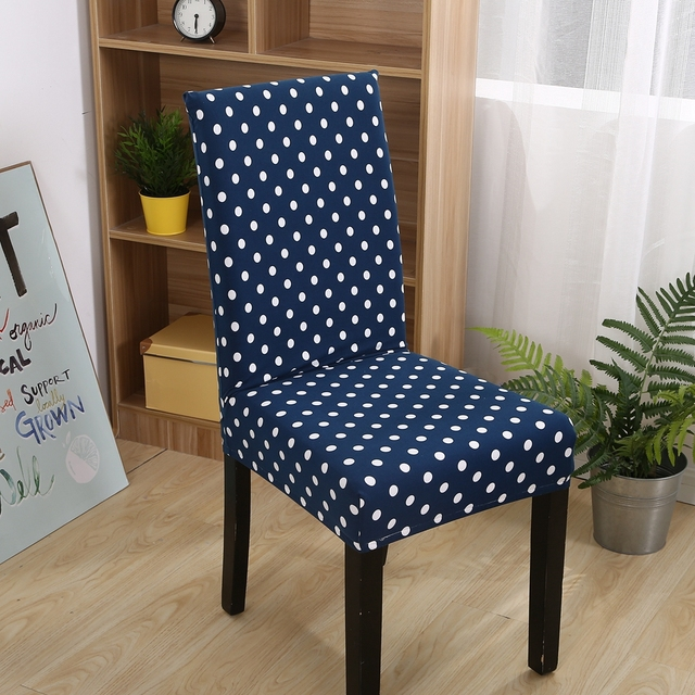 FXXXY Blue Universal Stretch Chair Covers For Dining Room1pc White Dots Removable Machine Washable