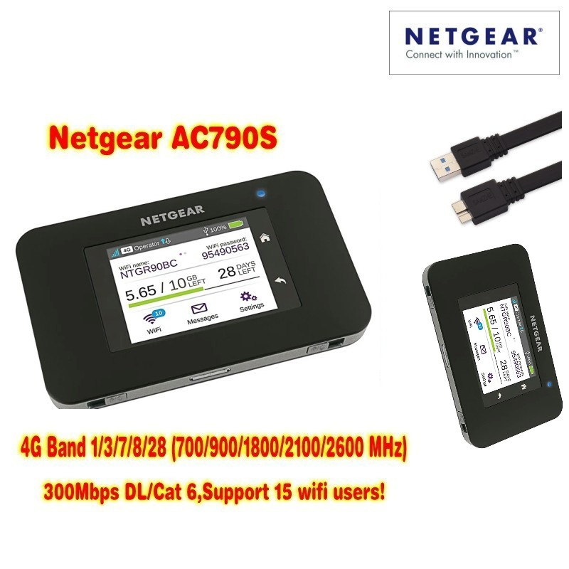 Unlocked Aircard AC790s 4G Mobile Hotspot Sierra Wireless LTE CAT6 300M Portable WiFi Router 4G modem AC790S 2pcs 1 4 inch 4g lte wireless router tft network router 4g wi fi router roteador lte mobile modem hotspot wifi unlocked lte band
