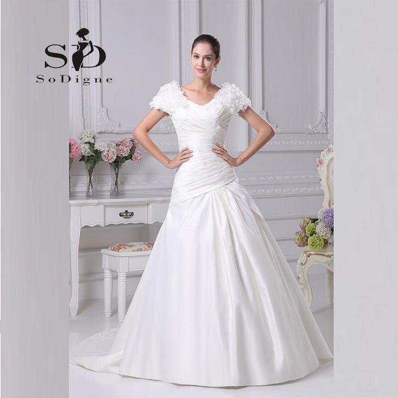 d1a70d6b0 Wedding Dress 2017 SoDigne New Fashion Pleats A Line Vestido De Noiva  Elegant Custom Made Puff Sleeve Bridal Gown -in Wedding Dresses from  Weddings   Events