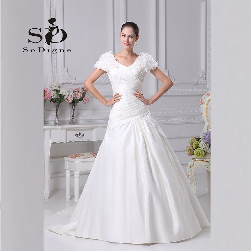 Wedding Dress 2018 SoDigne New Fashion Pleats A Line Vestido De Noiva Elegant Custom Made Puff Sleeve Bridal Gown