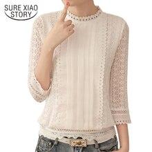Для женщин блузки корейский стиль женские шифоновые рубашки Осень три четверти рукав рубашки с воротником-стойкой, Плюс Одежда Размеры Топы 61J 25