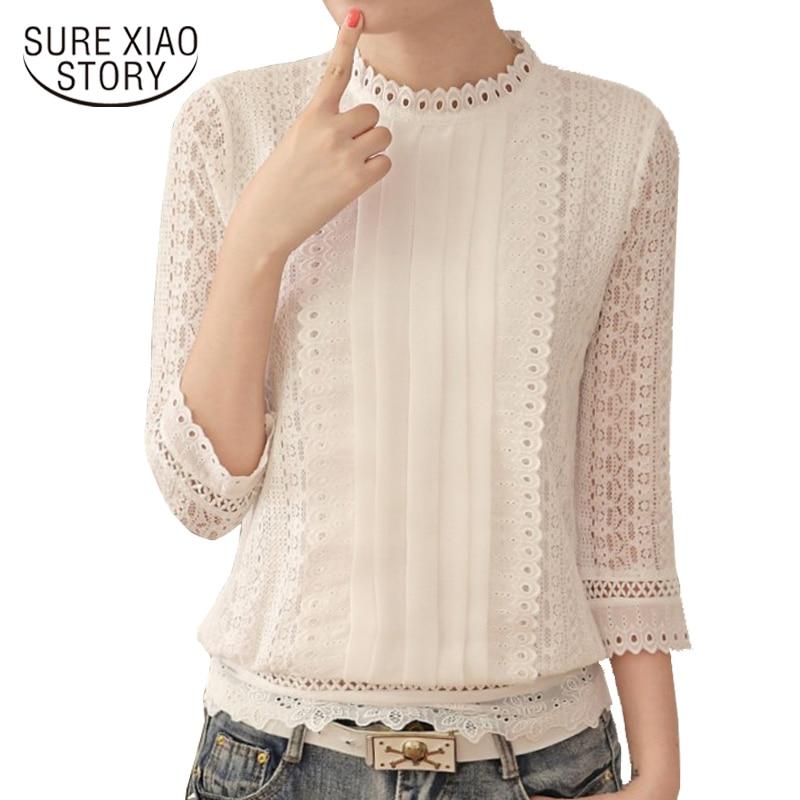 New Women Blouses Korean Style Ladies Chiffon Shirts 2019 Autumn Three Quarter Sleeve Stand Collar Clothes Plus Size Tops 61J 25