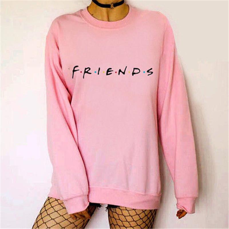 Brand New 19 Womens 5 Colors Letters FRIENDS Print Long Sleeve Hoodie Sweatshirt Ladies Slouch Pullover Jumper Tops S M L XL 7