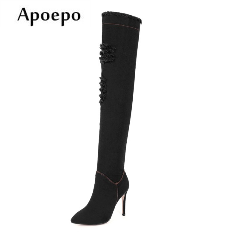 Apoepo Fashion Denim Over the knee boots 2018 Pointed toe woman high heel boots ripped jeans thigh high boots sexy sandal boots