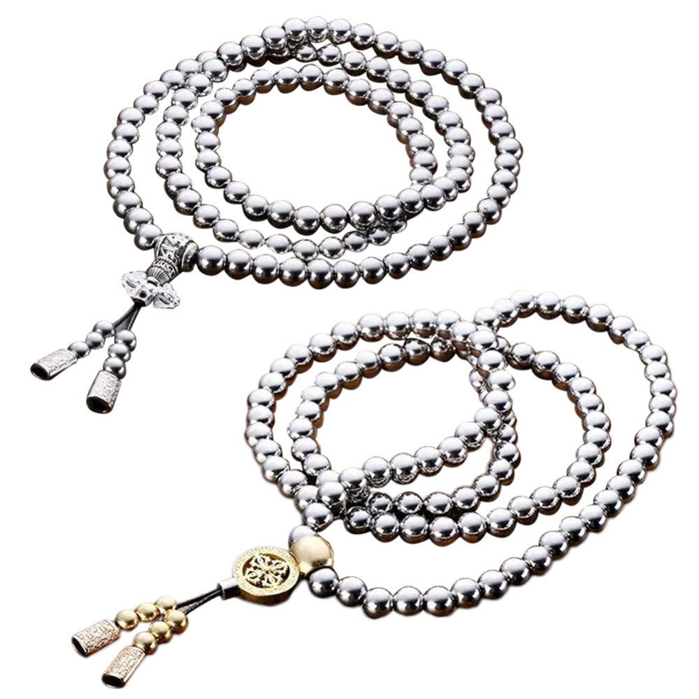 Outdoor Stainless Steel Self Defense 108 Buddha Beads Necklace Chain tungsten alloy steel woodworking router bit buddha beads ball knife beads tools fresas para cnc freze ucu wooden beads drill
