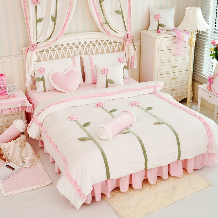 Princesse Cristal velours rose violet blanc Housse de Couette Drap de Lit Taie D'oreiller Ensemble de Literie, Roi, Reine Lits Taille 4 PCS accueil textiles