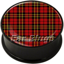 Hot sale 60pcs lot Tartan plug single flared ear plug mix 10 sizes body piercing jewelry