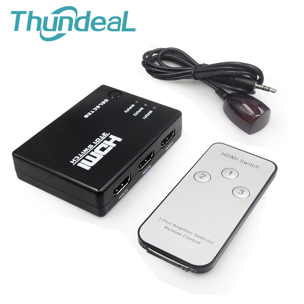 ThundeaL HDMI Switcher 3/5 Input to 1 Out 1080P Switch HDMI IR Remote Control for PS3 Xbox HDTV DVD TV Projector Not Splitter 3x1 hdmi splitter 3 port hub box auto switch 3 in 1 out switcher 1080p hd 1 4 with remote control for hdtv xbox360 ps3 projector