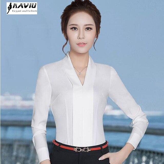 59875b2be50 New temperament V-Neck long sleeve white shirt women OL Eleangt formal slim  chiffon blouse office ladies plus size work wear top