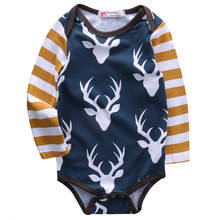 Hot sales Fashion Newborn Baby Boys Girls Clothes Deer Long Sleeve Bodysuits Playsuit cotton Baby Clothing Outfits