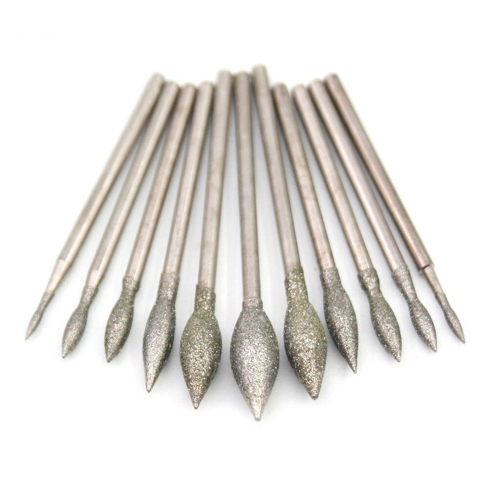 2.35mm Shank Fine Grade Candle Light Bits Bulb Diamond Abrasive Bits Teeth Grinding Burr Abrasives For Jade Stone Polishing