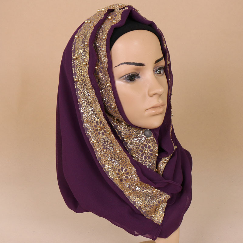 New Muslim plain lace Pearl floral Hijab glitter flower turban Scarf Islam female quality chiffon Beading Shawl Wrap headscarf in Islamic Clothing from Novelty Special Use