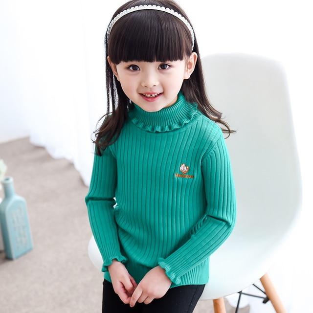 New Children Sweater Autumn Winter Baby Girl Sweater Kids Turtleneck Sweater Cotton Knitwear Girls Sweaters Outerwear Pullovers