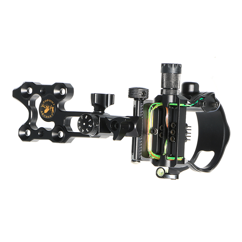 Archery Compound Hunting Bow Sight 5-Pin Fiber Optics Bow Sight General Long Short Rod Tuning Sight