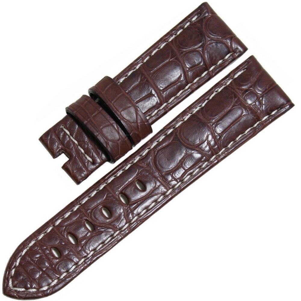 Pesno marron avec couture blanche luxe Alligator cuir beau Grain 22mm hommes véritable bracelet de montre pour Panerai - 2