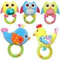 Toys traqueteo del bebé campana de mano del juguete del bebé temprano educativo 4 estilos Búho Pájaro Pollo Animales de Peluche Bebé traqueteo del bebé del algodón toys