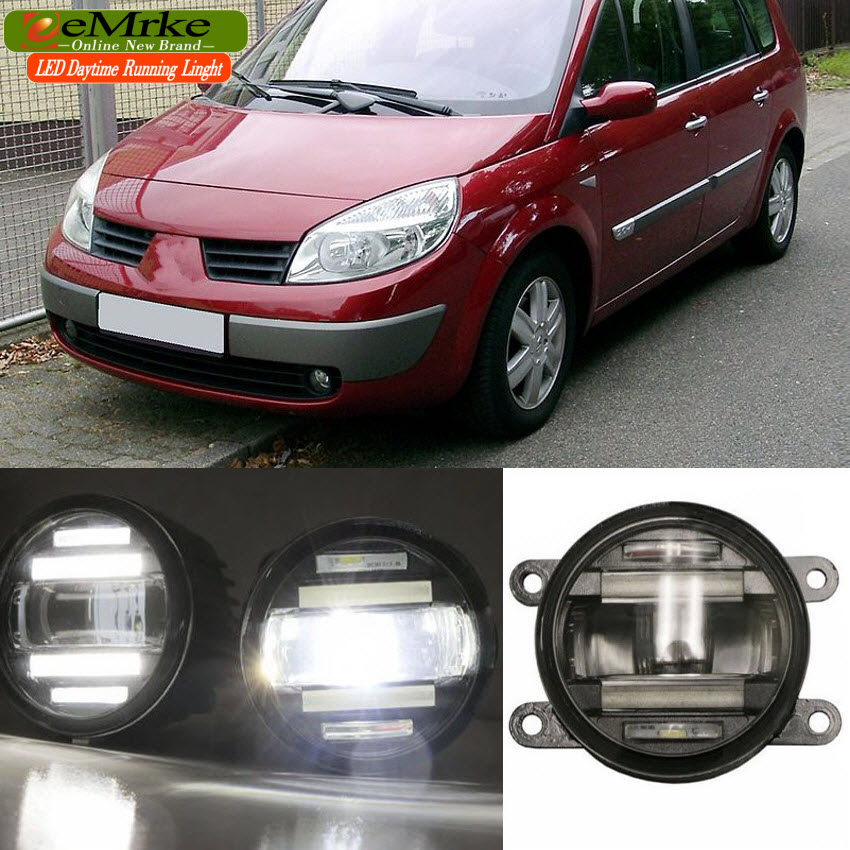 eeMrke Xenon White High Power 2in1 LED DRL Projector Fog Lamp With Lens For Renault SCENIC 2 3 4 2003-2016 eemrke xenon white high power 2 in 1 led drl projector fog lamp with lens daytime running lights for renault kangoo 2 2008 2015