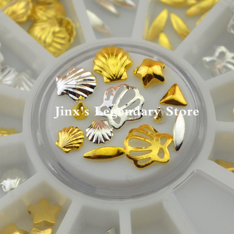 120PCS 3D Metal Nail Shell Rhinestones Wheel Alloy Studs For Nail Art Tips Decoration Styling Tools Accessories Gold Silver 1 box gold matte nail art rhinestone studs wheel 3d metal square triangle shaped nail decoration accessories