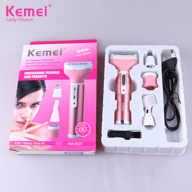 Kemei Female Epilator Multifunction 4 In 1 Hair Removal Women Electric Shaver Rechargeable Nose Eyebrow Hair Clippers D43 4