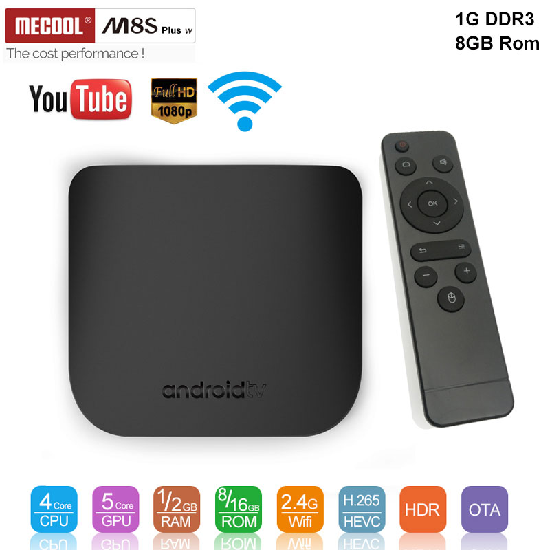 MECOOL M8S PLUS W Android 7.1 1 GB 8 GB ROM Smart TV Box Support 2.4G WIFI 4 K H.265 1080 P télécommande décodeur pk h96MAX X96