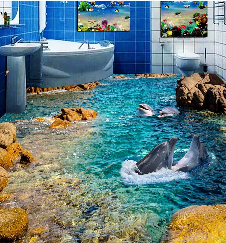 цены 3D wall murals wallpaper floor 3D wallpaper floor for living room dolphin Custom Photo self-adhesive 3D floor