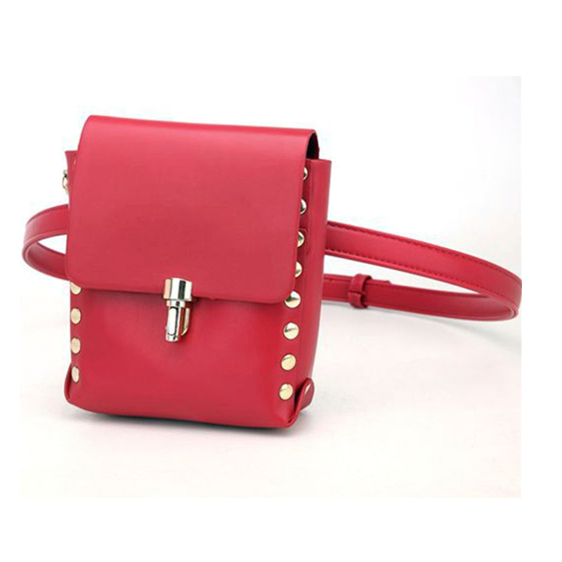 Fashion Cool PU Celular Waist Bag Rivet decoration Money Belt Bag Women Wallet For Bar Nightclub
