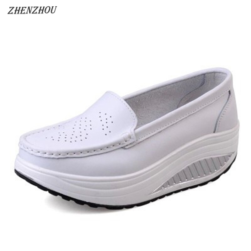 Free shipping spring genuine leather soft outsole work shoes female black swing shoes woman plus size wedges single female shoes