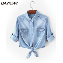 QAZXSW Turn-down Collar Casual Women Polo Shirts Coat Jeans Plus Size Cowboy Girl Shirt Polo OL Crop Top Loose Autumn YX2038