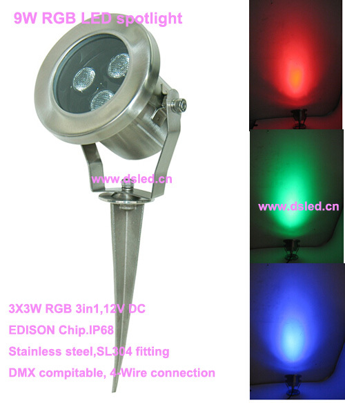 Free shipping by DHL!! stainless steel 9W RGB LED garden light,RGB LED lawn light,DS-10-48-9W-RGB,3*3W RGB 3in1,12V DC free shipping by dhl ip68 stainless steel high power 9w led swimming pool light underwater led light ds 10 1 9w 3x3w 12v dc