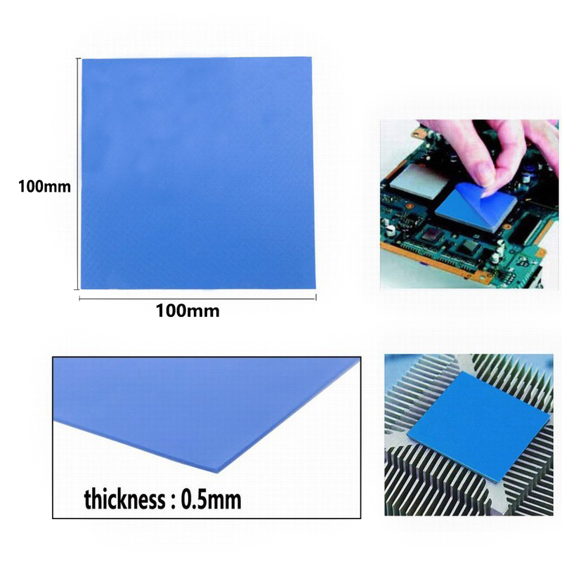200Pcs Gdstime Bule Thermal Pad 100 100 0 5mm Silicone Thermal Pad For LED Light PC Laptop Computer CPU VGA GPU in Fans Cooling from Computer Office