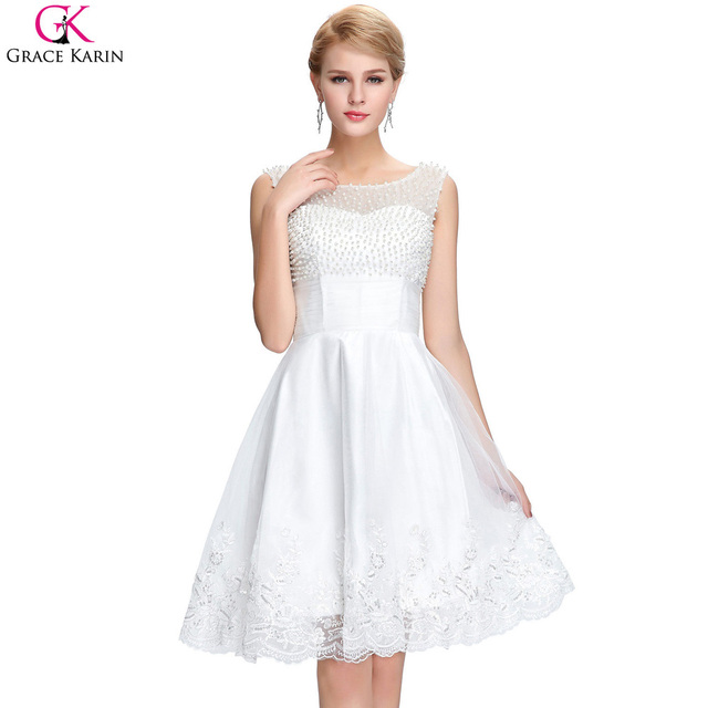 Short White Prom Dresses Grace Karin Satin Tulle Lace Beautiful