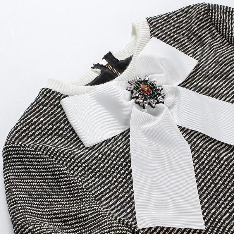 Automne Noir Arc Tricot Mince Coréenne Nouvelle Robe 2017 De Femmes Cravate xSvtTt