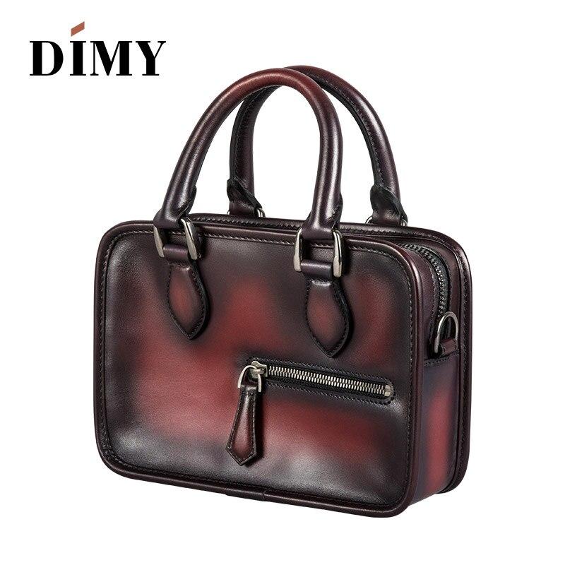a7ae9d79ad4f DIMY 2019 новые итальянская телячья кожа женская портфели сумки Мужская  тотализаторов дикий на плечо небольшой площади