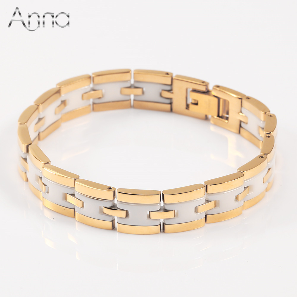 A N New Fashion Stainless Steel Bangle Bracelets Gold Silver Plated White Ceramic Bracelets Love Bangles