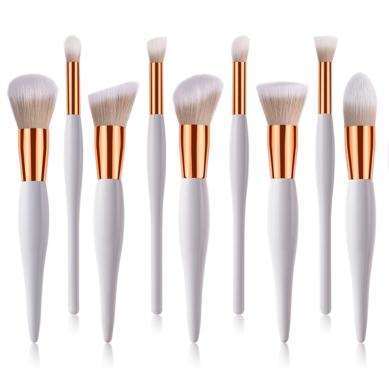 10Pcs Gold Alumium Makeup Brushes Pro Concealer Powder Blush Foundation Brush Eyebrow Eyelashes Eye Shadow Brush Set for Women