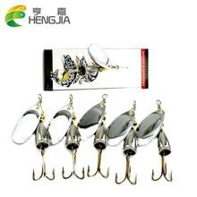 HENGJIA 5pcs 6.5cm 8.5g Spinner Spoon bait Fishing Lure Hard Fishing Spoon Lure Metal Jigging Lure Baits Fishing Tackle