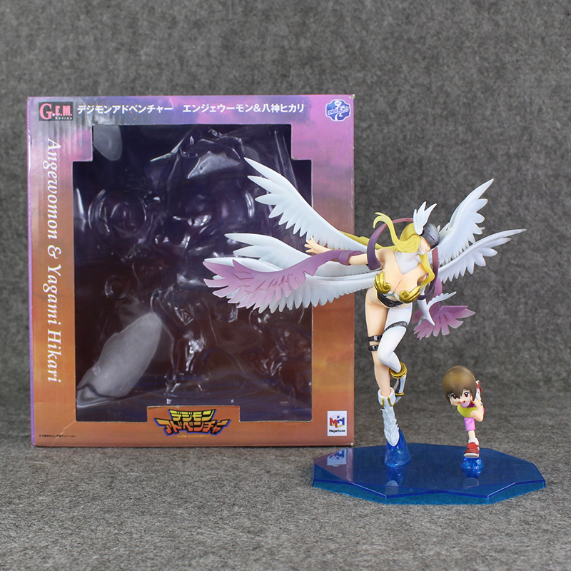 9 22cm Japan AnimeMegahouse Digital Yagami Hikari and Angewomon PVC Action Figure Toy In Box9 22cm Japan AnimeMegahouse Digital Yagami Hikari and Angewomon PVC Action Figure Toy In Box