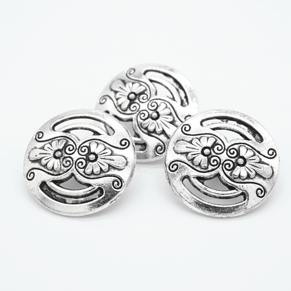 30pcs Vintage Sewing Jeans Buttons 18mm Flower hollow out  Pattern Carved Silver Tone Round cloth Accessories DIY Crafts