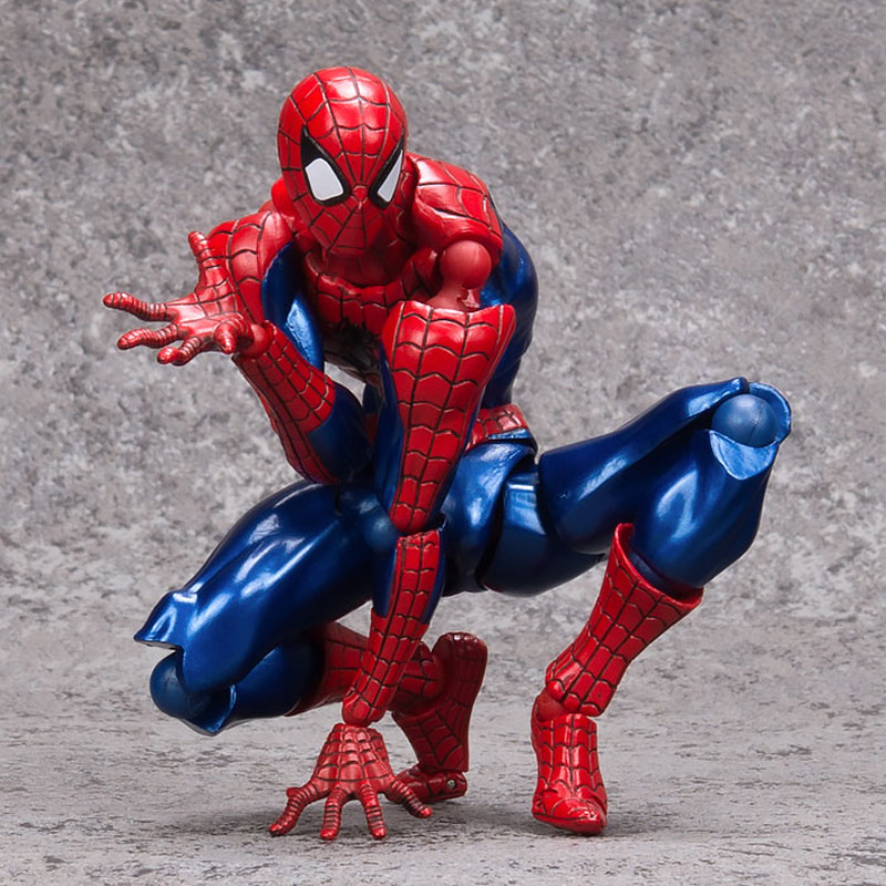 16CM PVC RevolTech Movable Multiple Postures Super Hero Spiderman Action Figure Furnishing Articles Model Holiday Gifts Ornament 14cm pvc movable avengers union captain america thor action figure car furnishing articles model holiday gifts children s toys