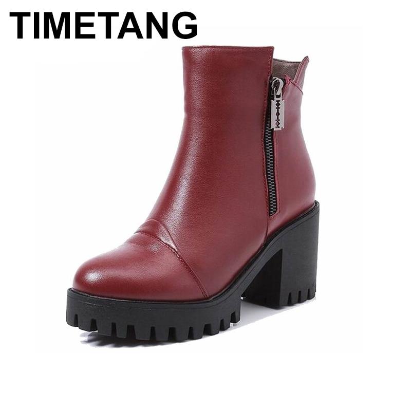 TIMETANG Women Winter Boots Size 34~40 Warmest Genuine Leather Russian style Women Snow Boots warmest genuine leather snow boots size 37 50 brand russian style men winter shoes 8815