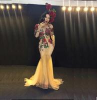 Rose Flower Bright Crystals stone female costume singer dance show women's sexy dancer nightclub