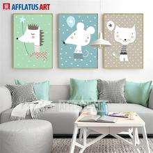 Cartoon Dog Cat Mouse Balloon Nordic Posters And Prints Wall Art Canvas Painting Print Pictures Kids Room Decor