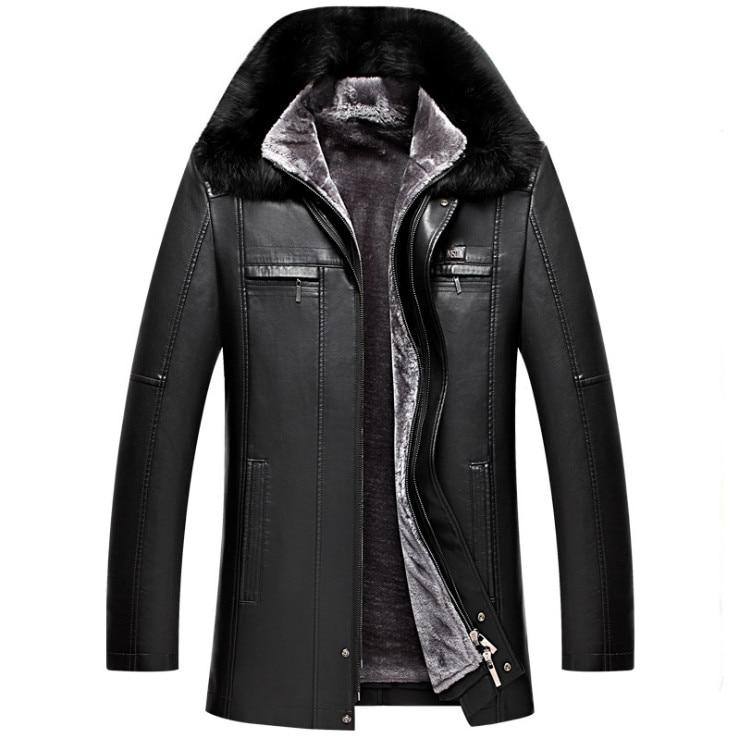 DQIYU russie hiver veste en cuir hommes nouveau col en fourrure véritable veste en cuir épaissir Long hommes coupe-vent veste décontracté mâle manteau - 5