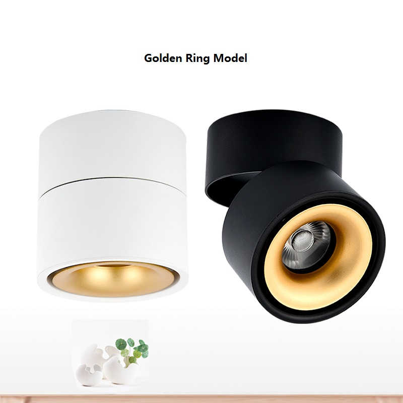 LukLoy, потолочные светильники, светодиодный, монтируемый на поверхность, складной, вращающийся на 360 градусов, потолочный светильник, COB, внутреннее точечное освещение, светильники, прожектор
