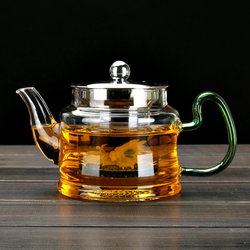 Image 2 - Good Clear Borosilicate Glass Teapot With 304 Stainless Steel Lid Glasses Infuser Strainer Heat Resistant Black tea pots-in Teapots from Home & Garden on AliExpress
