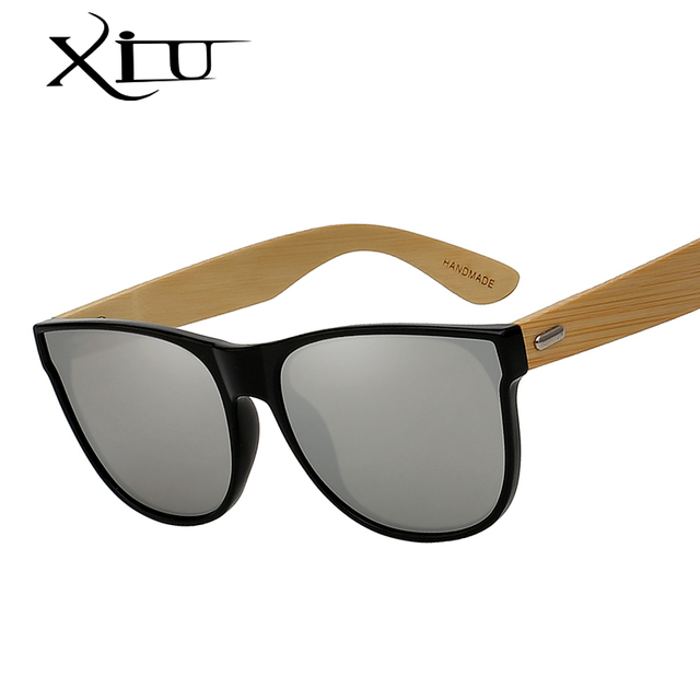3fbed37be0a XIU Vintage Bamboo Wooden Sunglasses Handmade Mirror Coating Lenses Eyewear  Brand Design High Quality Glasses UV400