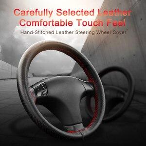 Image 2 - Car Steering Wheel Covers Fits Outer Diameter of 37 38CM DIY Genuine Leather Braid On The Steering Wheel Of Car