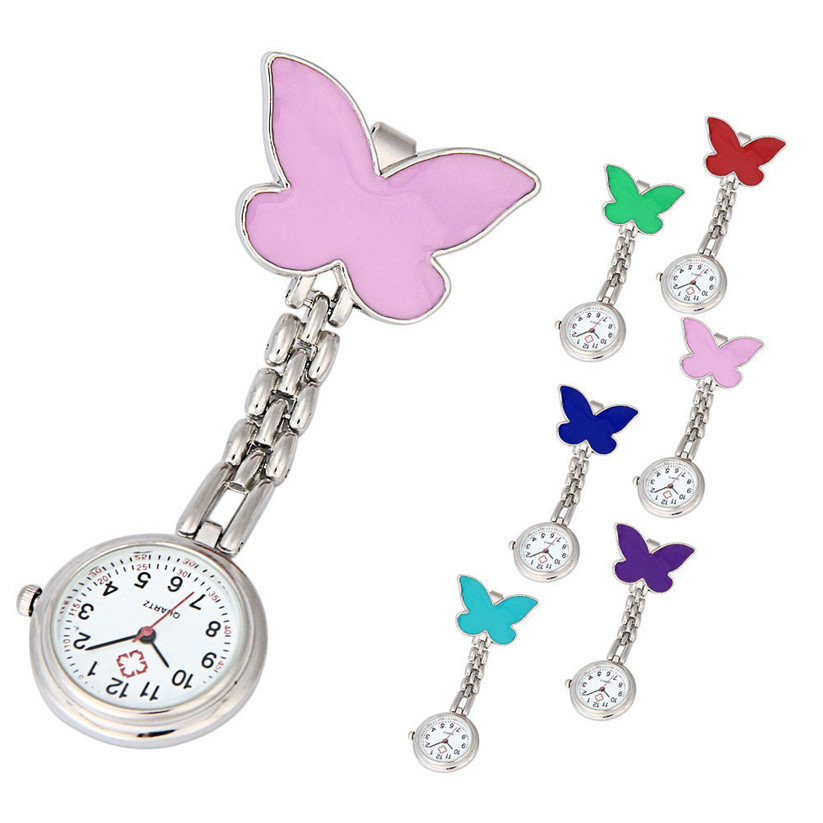 Nurse Watches 1 PC Brooch Fob Medical Nursery Clocks Colorful Butterfly Quartz Pocket Pendant Hanging Watch Wholesale 30M15 fashion colorful silicone medical nurse watches portable brooch fob pocket quartz watch hanging pendant with clip gift 12 styles