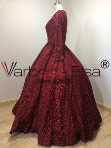 Image 4 - VARBOO_ELSA Dubai Árabe Vestido de Noite Elegante vestido de Baile vermelho 2018 Brilhante Lantejoulas Longo Prom Dress Robe De Soirée 2018 árabe vestido